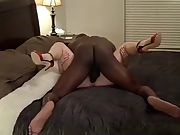 Cuck bareback large black cock action while spouse works