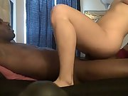 Horny blonde inhales and rides her bbc amateur interracial