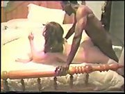 Cuck hubby filming sexy wife breeding with two black men and anal