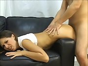 Black-haired housewife butt plumbed on sofa by big jizz-shotgun lover sliding nut deep