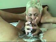Mischievous cream handjob by blonde wife
