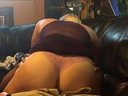 Ash-blonde wife having interracial intercourse on home couch